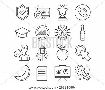 Set Of Graduation Cap, Click Here And Work Icons. Winner, Beer And Update Data Signs. Copy Files, Pr