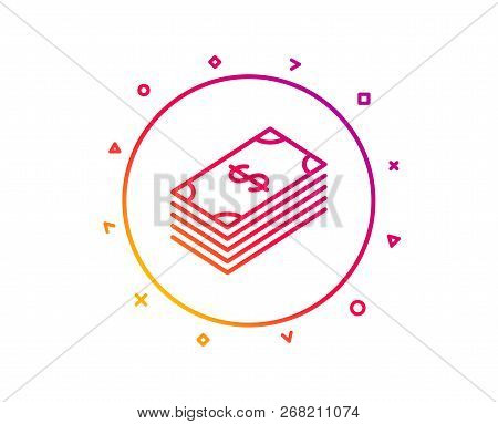 Cash Money Line Icon. Banking Currency Sign. Dollar Or Usd Symbol. Gradient Pattern Line Button. Dol