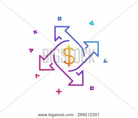 Payment Exchange Line Icon. Dollar Sign. Finance Transfer Symbol. Gradient Line Button. Payment Exch