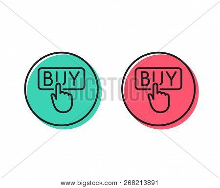 Click To Buy Line Icon. Online Shopping Sign. E-commerce Processing Symbol. Positive And Negative Ci