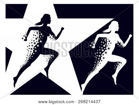 Transparent Silhouette Of A Running Girl With A Train Of Stars. Vector Illustration