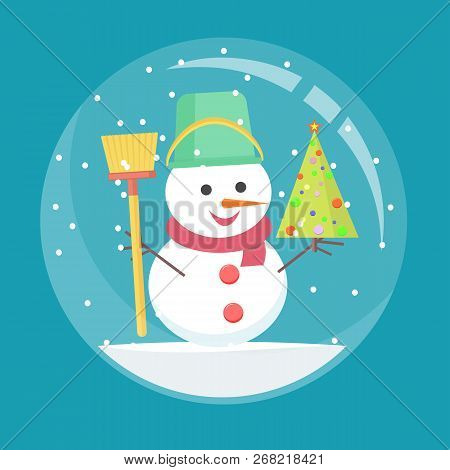 Christmas Glass Ball With A Snowman Inside. Spherical New Year Snow Globe In Flat Style. Stock Flat