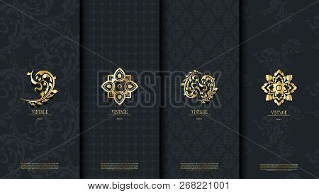 Packaging Template Of Exotic Thai Pattern Design Element Concept Classy Vintage Background And Logo