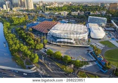 Melbourne, Australia - Nov 10, 2018: Aerial View Of Rod Laver Arena, Margaret Court Arena And Other