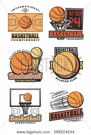 Basketball Vector Icons. Championship Cup Or Sport Team League Tournament Design. Vector Orange Bask