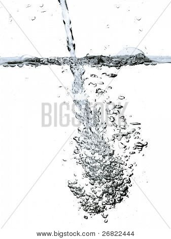 Jet of water above and below a surface