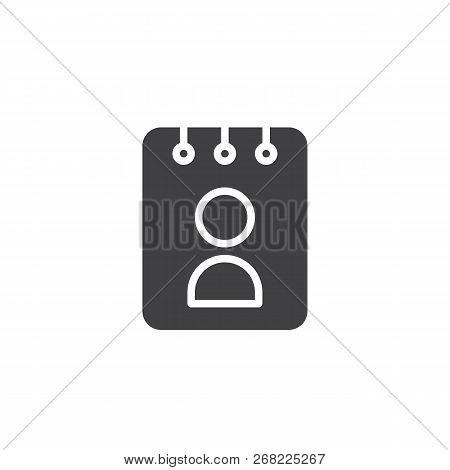 User Organizer Vector Icon. Filled Flat Sign For Mobile Concept And Web Design. Personal Note Book S