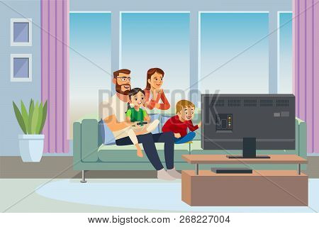 Parents Resting At Home With Kids Cartoon Vector Illustration. Father And Mother Sitting On Sofa In