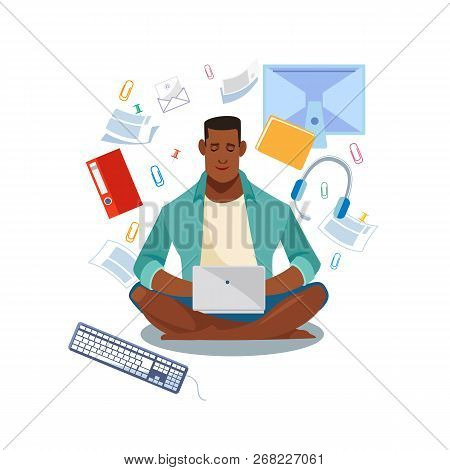 Online Learning, Distance Education Cartoon Vector Concept With African-american Student Sitting Wit