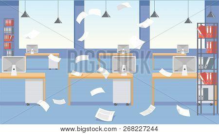 Vector Cartoon Stressful Office Environment. Stressed Vector Cartoon Characters. Empty Office Tables
