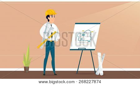 Male Architect Examining Room Design Plan. Vector Illustration Of Working Cartoon Characters In Cowo
