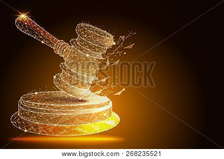 Court, Judgment, Bid, Auction Concepts. Judge Gavel, Auction Hammer. Abstract Design In The Form Of
