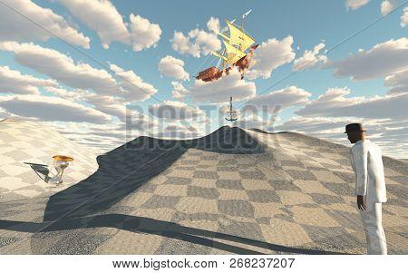 Man in white suit in surreal desert scene. Ship in sky drops anchor. 3D rendering