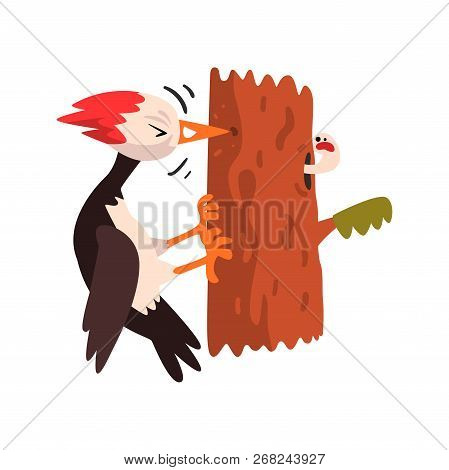 Cute Woodpecker Sitting On A Tree And Knocking, Funny Bird Cartoon Character Vector Illustration On
