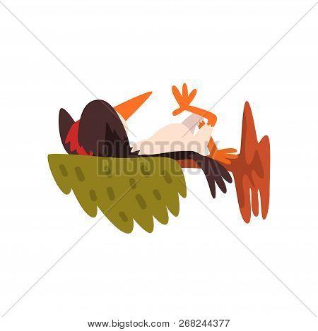 Cute Woodpecker Sleeping On A Tree Branch, Funny Bird Cartoon Character Vector Illustration On A Whi