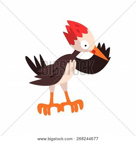 Cute Woodpecker, Funny Bird Cartoon Character Vector Illustration On A White Background