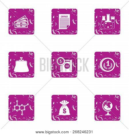 Scientific Money Icons Set. Grunge Set Of 9 Scientific Money Vector Icons For Web Isolated On White