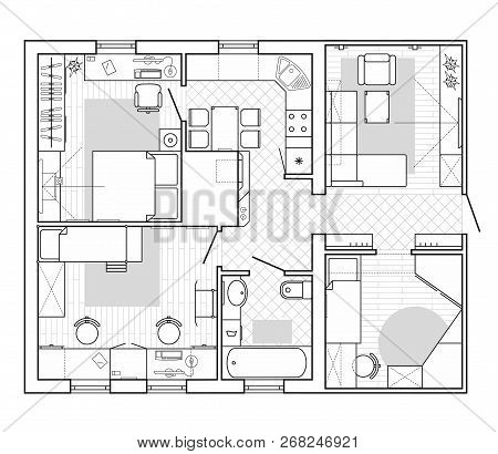 Black And White Architectural Plan Of A House. Layout In Top View Of The Apartment With The Furnitur