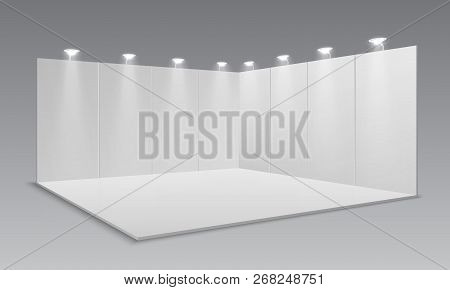 Blank Display Exhibition Stand. White Empty Panels, Promotional Advertising Stand. Presentation Even