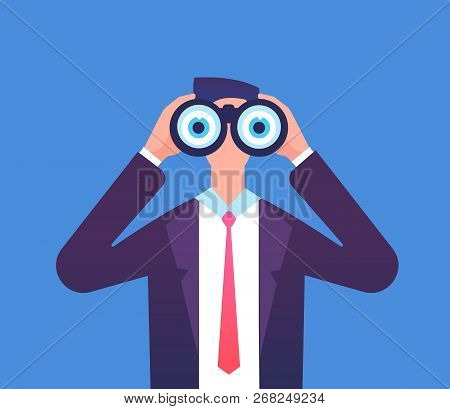 Man Looking Through Binoculars. We Are Hiring, Recruiting And Business Seeing Vector Concept. Busine