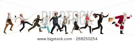 Collage Of Different Professions. Group Of Men, Women In Uniform Running At Studio With Santa Isolat
