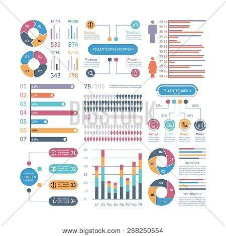 Infographic Graphs. Business Chart Process Infochart Diagram Option Flowchart With People Icons. Vec