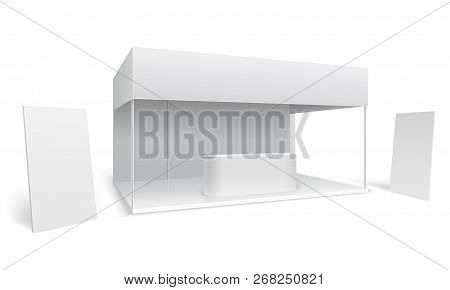 Exhibition Trade Stand. White Empty Event Marketing Booth. Promotion Stand With Display And Standing