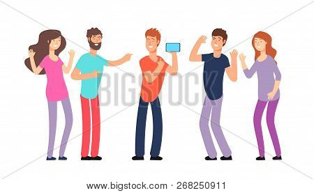 Friends Laughing. People Laughing Together. Friendly Fun Conversation And Joke Vector Concept. Illus