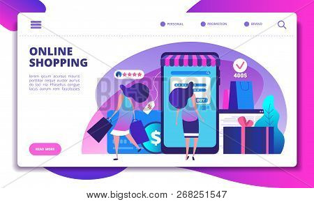 Online Shopping Landing Page. People With Smartphone Doing Internet Payment In On-line Store. Websit