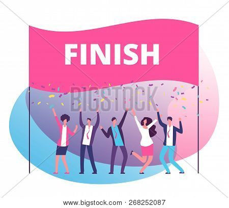 Success Reach Goal Concept. Business Persons Celebrating Victory At Finish Line. Compete In Business