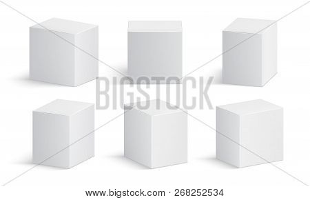 White Box. Blank Medicine Package. Medical Product Cardboard Boxes 3d Vector Isolated Mockup. Produc