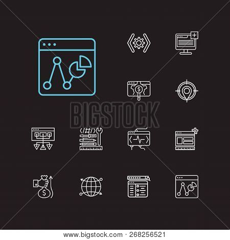 Seo Icons Set. Website Optimization And Seo Icons With Statistic, Sitemap And Cdn. Set Of Social For
