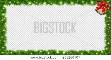 Realistic Vector Fir-tree Rectangle Border, Frame With Red Bow And Bells Isolated On Transparent Bac