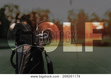 Golf Clubs Set in Bag. Clubs on Golf Course. Professional Sports Equipment. Silver Clubs in a Baggage. Game in Summer Day. Niblicks, Golf Bats on Fairway. Luxury Elite Sports and Recreation. poster