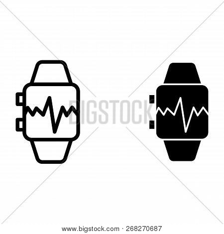 Smart Watch With Pulse Line And Glyph Icon. Smart Watch With Heartbeat Vector Illustration Isolated