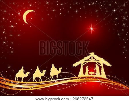 Christian Christmas Theme. Birth Of Jesus, Shining Star And Three Wise Men On Red Background, Illust