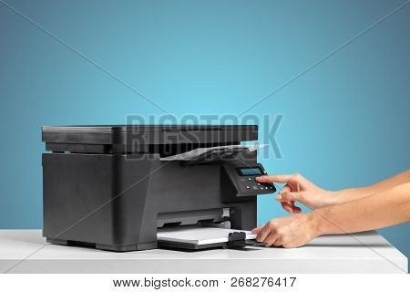 Printer, Copier, Scanner. Office Table. Object. Close Up. Macro Photography