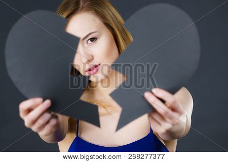 Depression, Sadness, Relationship Problem Concept. Young Female With Broken Heart Full Of Negative S