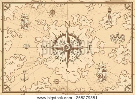 Vintage Monochrome Treasure Map Concept With Navigational Compass Lighthouse Ship Octopus Seashell A