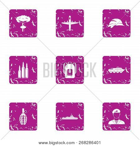 Sport Military Icons Set. Grunge Set Of 9 Sport Military Vector Icons For Web Isolated On White Back