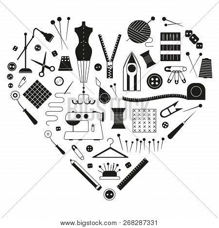 Tailoring and dressmaking equipment, handcraft supplies icon set for tailor shop. Love sewing craft card stylized in heart shape. poster