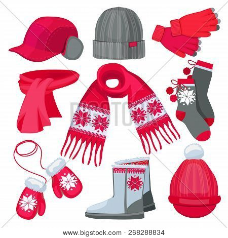 Winter Clothes. Hat Cap Scarf Mittens Fur Christmas Fashion Clothes Isolated On White Vector Collect