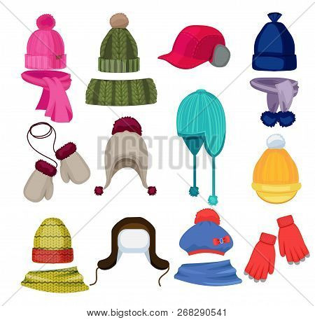 Winter Hat Cartoon. Headwear Cap Scarf And Other Fashion Accessories Clothes In Flat Style Vector Il