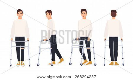 Smiling Young Man With Walking Frame Or Walker Isolated On White Background. Male Character With Phy