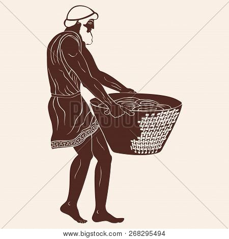 Ancient Greek Man Slave With A Heavy Basket In His Hands. Figure Isolated On Beige Background.