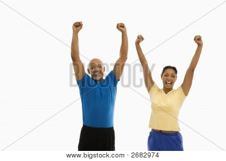 Enthusiastic Man And Woman.