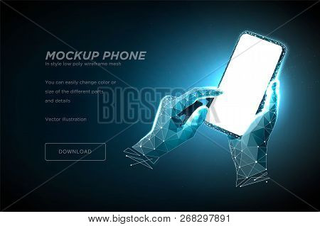 Mobile Phone Low Poly Wireframe Art On Dark Blue Background. Smartphone With Blank White Empty Scree