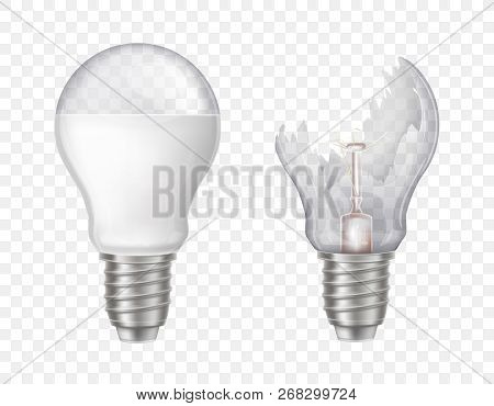 Vector 3d Realistic Electric Lightbulbs. Led Technology, Eco-friendly, Energy-efficient Innovation.