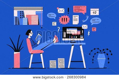 Girl Sitting With Her Legs On Desk With Computer And Reading Book Instead Of Working Under Tasks. Pr