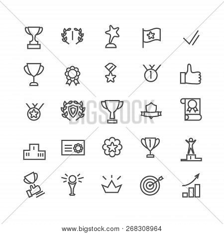 Award Icon Set. Line Art. Includes Such Icons As Trophy Cup, Goal, Success, Thumbs Up. Editable Stro